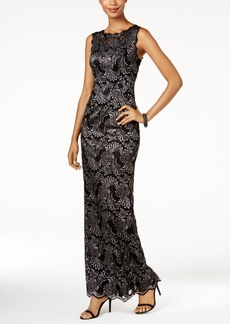 Adrianna Papell Two-Tone Lace Gown