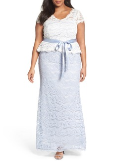 Adrianna Papell Two-Tone Lace Peplum Gown (Plus Size)