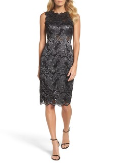 Adrianna Papell Two-Tone Lace Sheath Dress