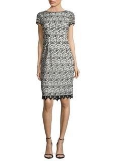 Adrianna Papell Two-Tone Lace Sheath Dress