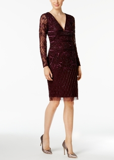 Adrianna Papell V-Neck Beaded Dress