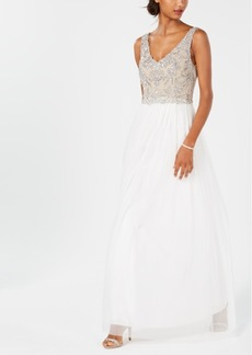 Adrianna Papell V-Neck Beaded Gown
