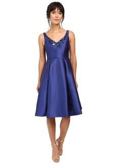 Adrianna Papell V-Neck Beaded Mikado Dress