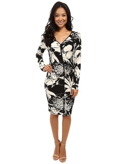 Adrianna Papell V-Neck Center Ruched Dress