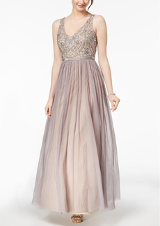Adrianna Papell V-Neck Embellished Lace Gown