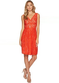 Adrianna Papell V-Neck Fit and Flare Lace Dress
