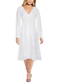 Adrianna Papell V-Neck Floral-Burnout Midi Dress