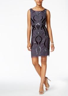 Adrianna Papell Velvet Beaded Sheath Dress