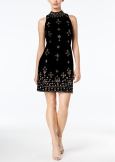 Adrianna Papell Velvet Embellished Sheath Dress