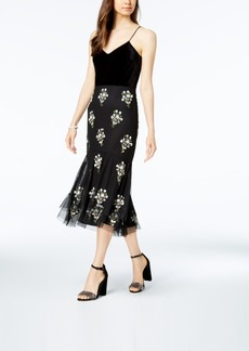 Adrianna Papell Velvet Embellished Shift Dress