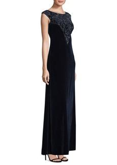 Adrianna Papell Velvet Floor-Length Shift Gown