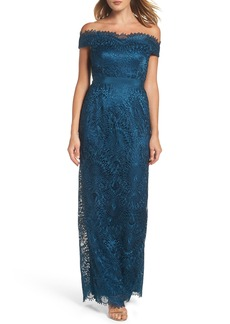 Adrianna Papell Venice Off the Shoulder Lace Gown