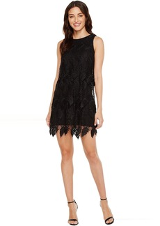 Adrianna Papell Victoriana Palm Lace Tiered Shift Dress