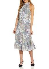 Adrianna Papell Watercolor Floral Halter Neck Chiffon Midi Dress