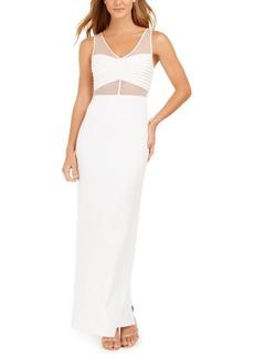 Adrianna Papell White Mesh Illusion Gown