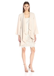 Adrianna Papell Women's 2 Piece Occasion Jacket with Lace Dress