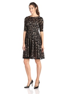 Adrianna Papell Women's 3/ Sleeve All Over Lace Dress