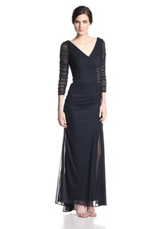 Adrianna Papell Women's 3/ Sleeve Evening Gown with V-Neckline and Rouched Bodice