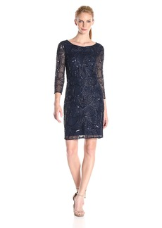 Adrianna Papell Women's 3/ Sleeve Fully Beaded Cocktail Dress With High Neckline