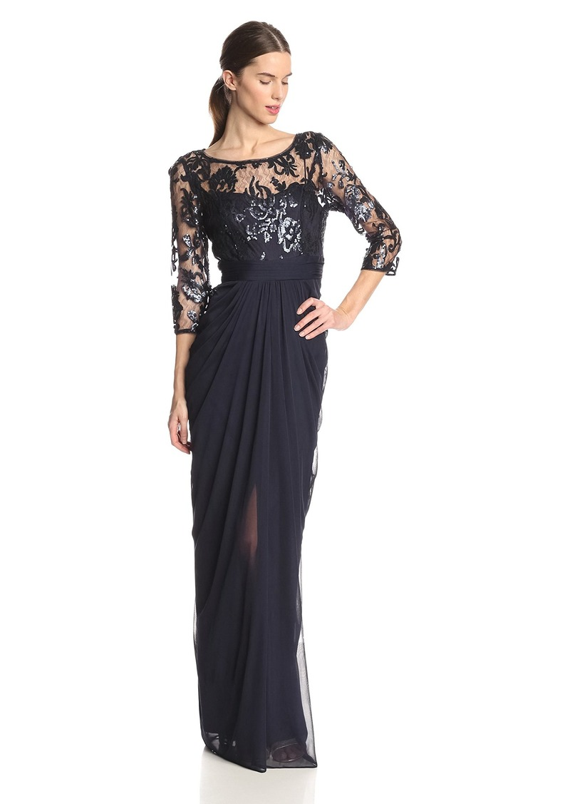 Adrianna Papell Women's 3/ Sleeve Illusion Embroidered Sequin Bodice Gown