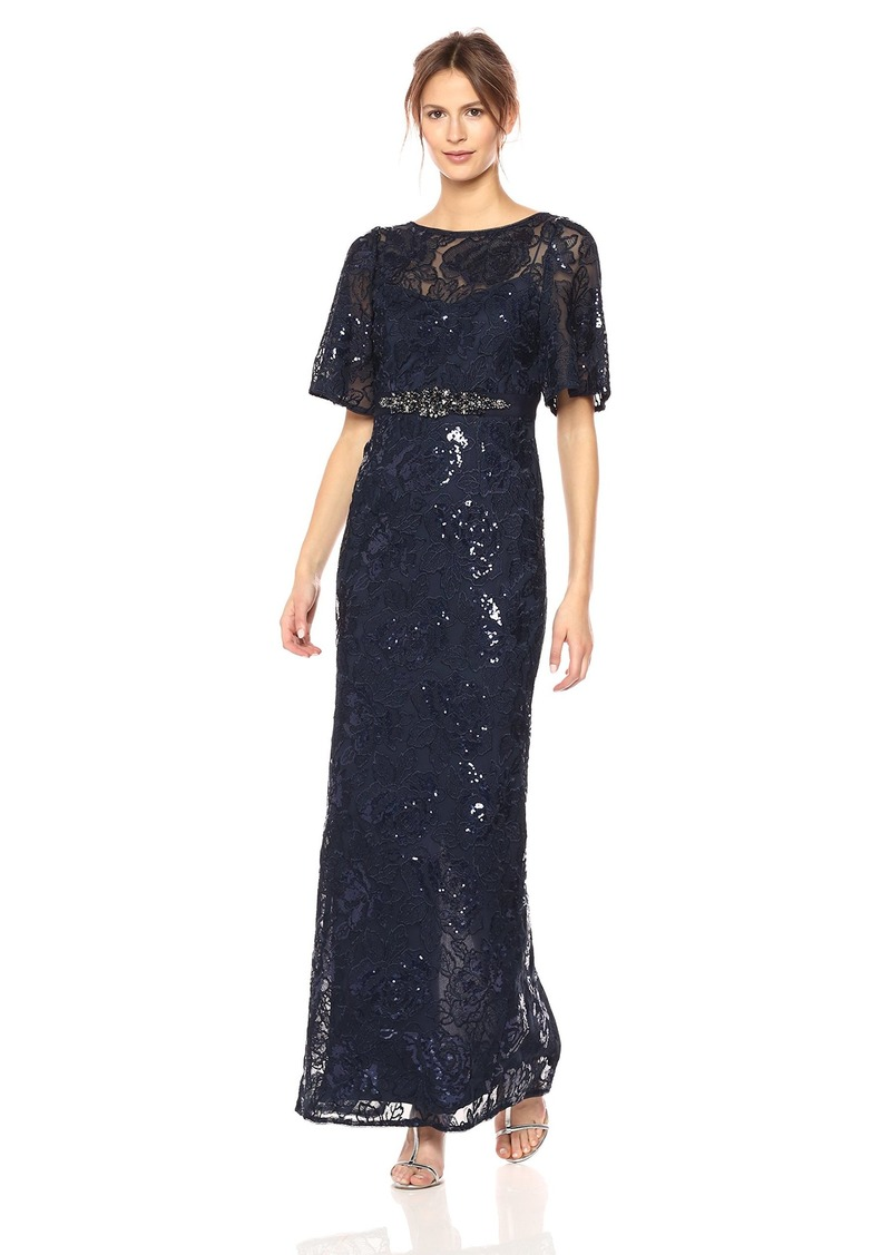 Adrianna Papell Women's 3/ Sleeve Metallic Sequin Embroidered Gown