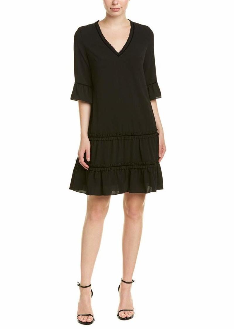 Adrianna Papell Women's 3/ Sleeve Pebble Stretch Chiffon Trapeze Dress