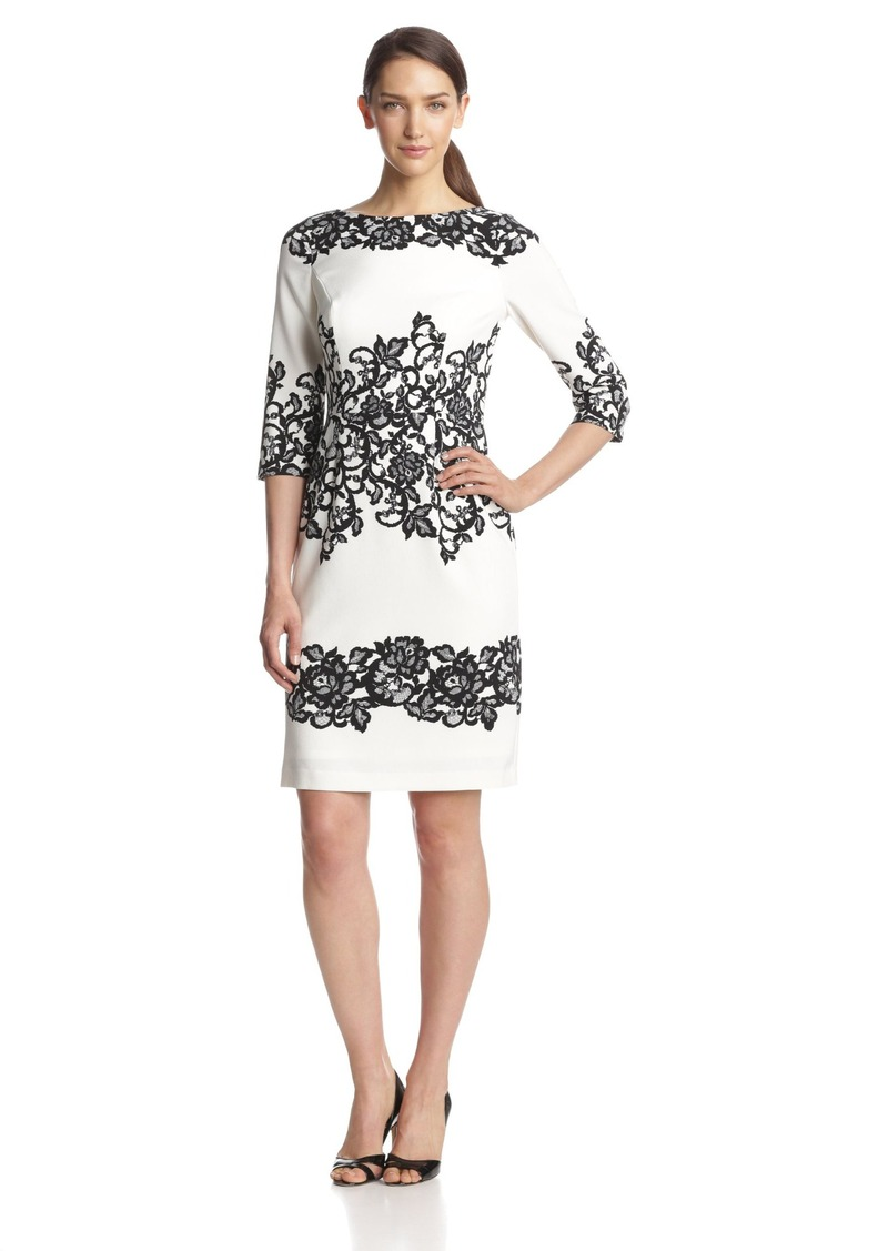 Adrianna Papell Women's 3/ Sleeve Placed Print Lace Dress