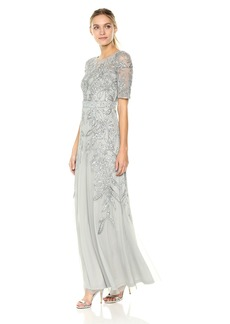 Adrianna Papell Women's 3/4 Sleev Long Beaded Dress Gown
