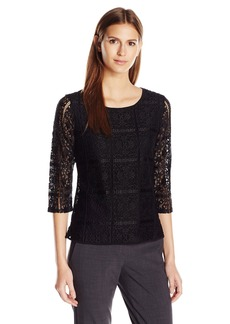 Adrianna Papell Women's 3/4 Sleeve Box Lace Blouse  L