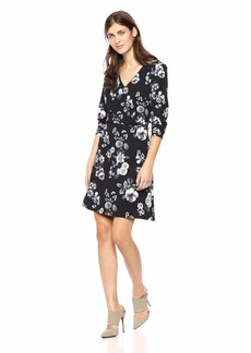 Adrianna Papell Women's 3/4 Sleeve Etched Flora Tiffany Twill A-Line Dress