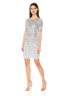 Adrianna Papell Women's 3/4 Sleeve Fully Beaded Cocktail Dress