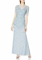 Adrianna Papell Women's 3/4 Sleeve Fully Beaded Gown