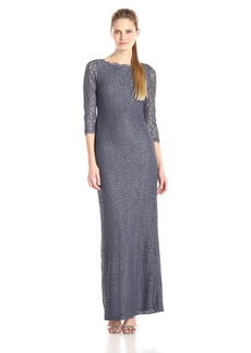 Adrianna Papell Women's 3/4 Sleeve Lace Gown with V-Back