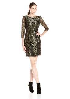 Adrianna Papell Women's 3/4 Sleeve Metallic Lace Cocktail Dress