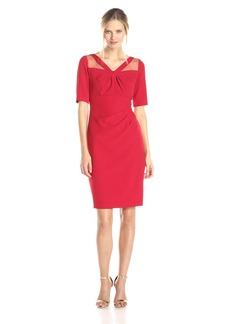 Adrianna Papell Women's 3/4 Sleeve Origami Neckline Waist Inset Dress