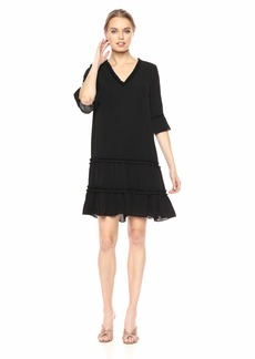 Adrianna Papell Women's 3/4 Sleeve Pebble Stretch Chiffon Trapeze Dress