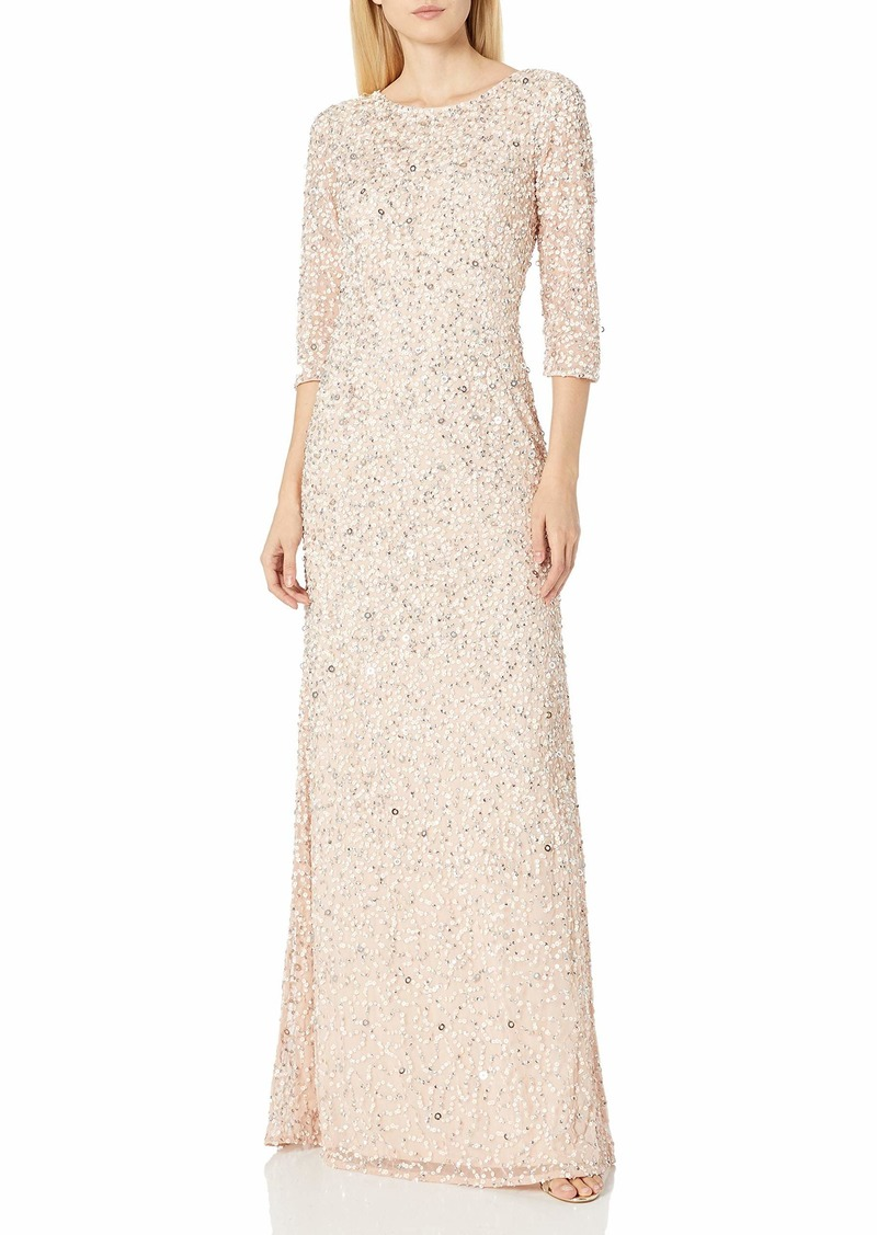 Adrianna Papell Women's 3/4 Sleeve Scoop Back Beaded Gown