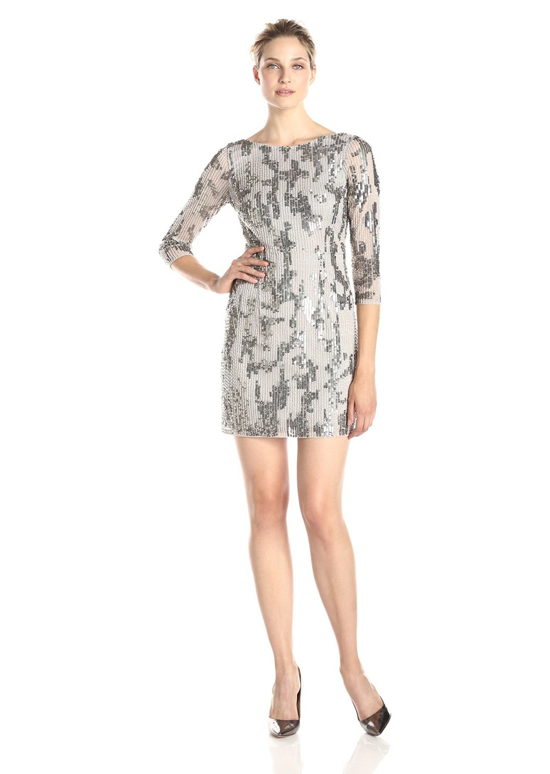 Adrianna Papell Women's 3/4 Sleeve Sequin and Bead Embellished Cocktail Dress