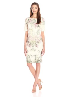 Adrianna Papell Women's 3/4 Sleeve Sheath Border Print Dress