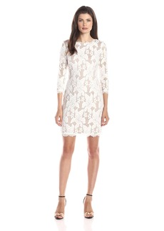 Adrianna Papell Women's 3/4 Sleeved Floral Lace Cocktail Dress with Scallopped Hemline
