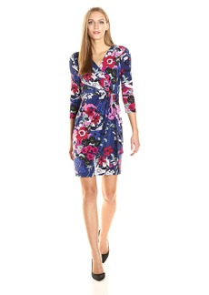 Adrianna Papell Women's 3/4 Slv Drape Frt Wrap Dress  XS