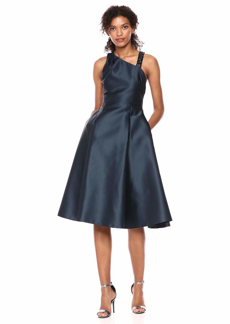 Adrianna Papell Women's A Line Midi Dress with Beaded Strap