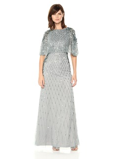Adrianna Papell Women's All Over Beaded Gown with Pop Over Cape