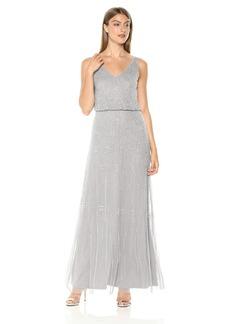 Adrianna Papell Women's Allover Beaded Sleeveless Blouson Mermaid Gown