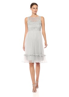 Adrianna Papell Women's Allover Beaded Tiered MIDI Length Party Dress