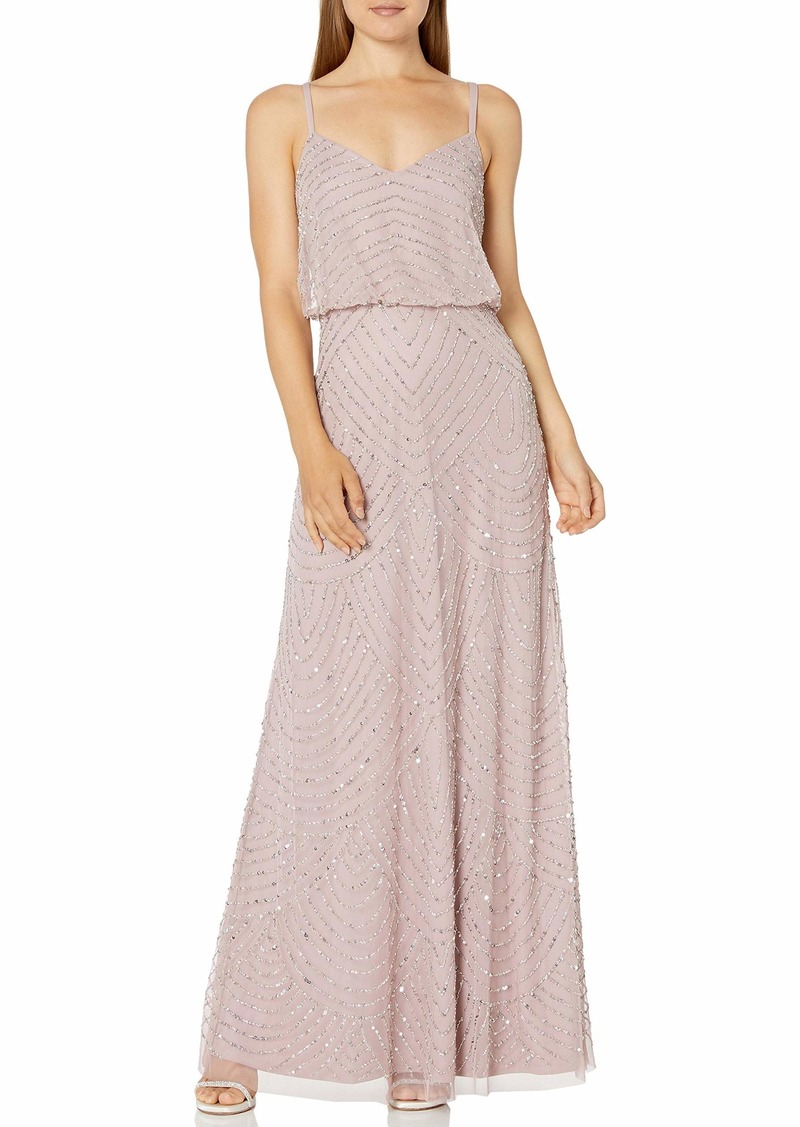 Adrianna Papell Women's Art Deco Beaded Blouson Gown dusted Petal/Silver