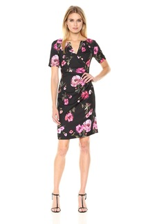 Adrianna Papell Women's Autumn Rose Side Drape Sheath Dress
