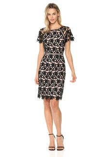 Adrianna Papell Women's Ava Lace Trmmed a-Lne Dress