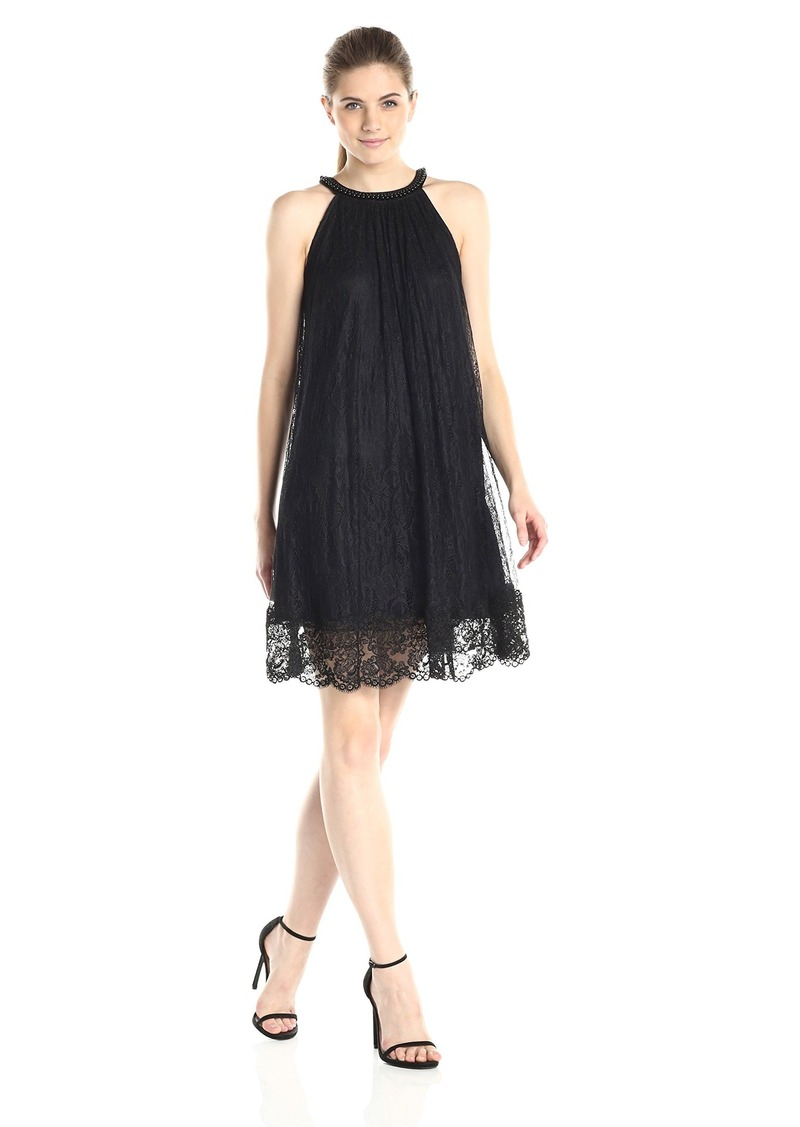 Adrianna Papell Women's Babydoll Embroidered Neckline Dress