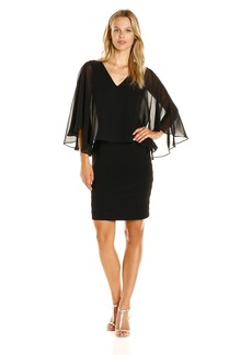 Adrianna Papell Women's Banded Dress W/ Cascading Chiffon Capelet